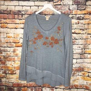 Sundance Blue Long Sleeve Shirt Floral Embroidery
